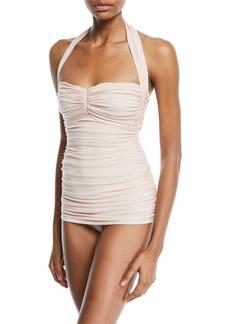Norma Kamali Bill Mio Shirred Halter One-Piece Swimsuit