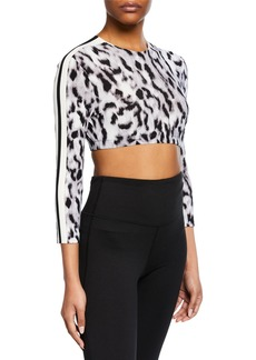Norma Kamali Crewneck 3/4-Sleeve Side-Stripe Crop Top