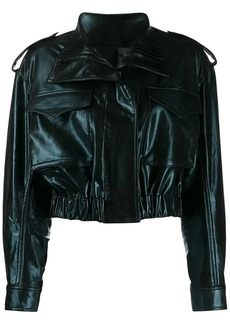 Norma Kamali cropped faux leather jacket