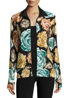 Norma Kamali Floral-Print Turtleneck Zip-Front Jacket