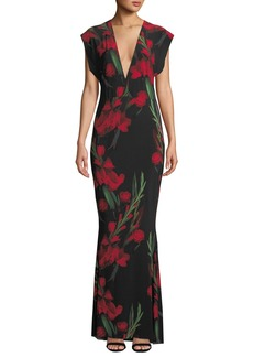 Norma Kamali Floral V-Neck Rectangle Gown