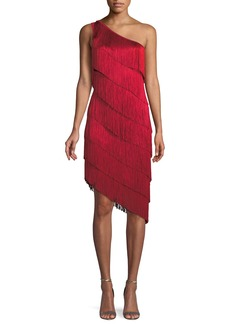 Norma Kamali Fringe One-Shoulder Cocktail Dress