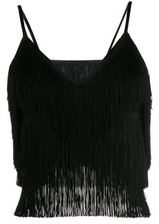 Norma Kamali fringed crop slip top