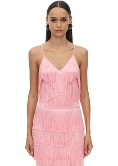Norma Kamali Fringed Techno Camisole Top