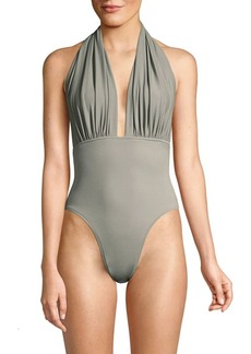 Norma Kamali Halter Low Back One-Piece Swimsuit