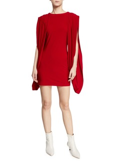 Norma Kamali High-Neck Double-Draped Split-Sleeve Mini Dress