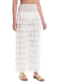 Norma Kamali High-Waist Tiered Ruffle Coverup Pants