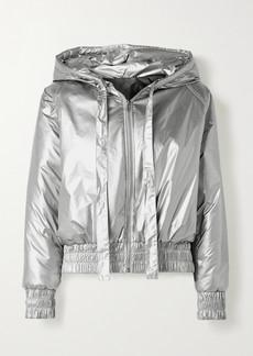 Norma Kamali Hooded Quilted Metallic Shell Bomber Jacket