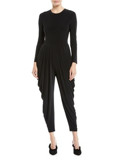 Norma Kamali Jewel-Neck Long-Sleeve Waterfall Stretch Jersey Jumpsuit