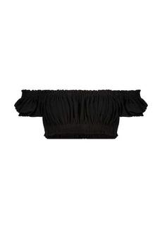 Norma Kamali Jose stretch-jersey crop top