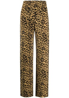 Norma Kamali leopard pattern high-waist trousers