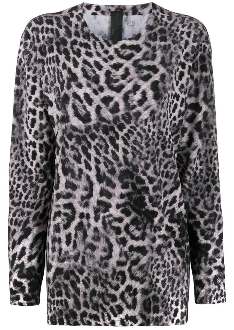 Norma Kamali leopard print blouse