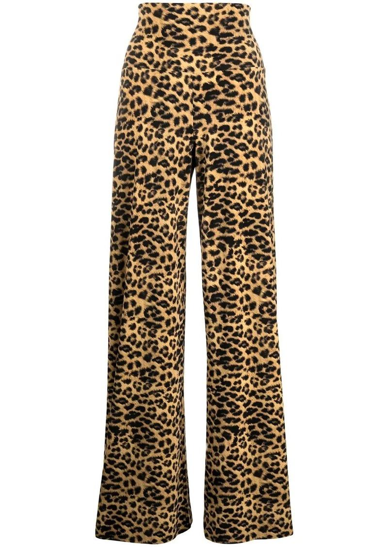 Norma Kamali leopard print flared trousers