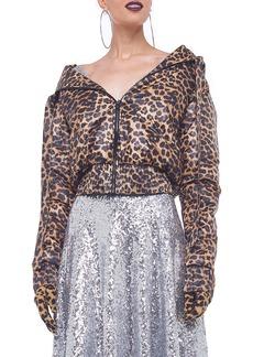 Norma Kamali Leopard-Print Hooded Bomber Jacket