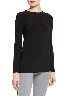 Norma Kamali Long-Sleeve Crewneck Top