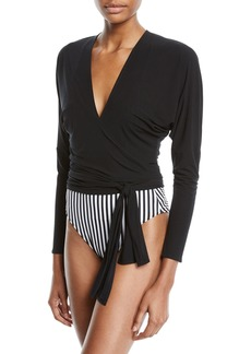 Norma Kamali Long-Sleeve Jersey Dolman Wrap Top