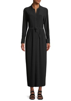 Norma Kamali Long-Sleeve Maxi Shirtdress w/ Belted Waist