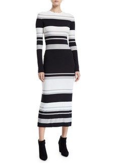 Norma Kamali Long-Sleeve Striped Bodycon Dress