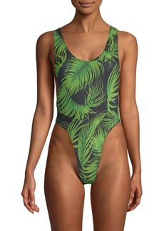 Norma Kamali Marissa Palm Leaf One-Piece