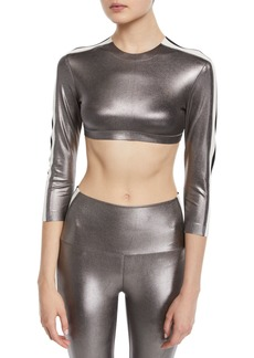 Norma Kamali Metallic Side-Stripe 3/4-Sleeve Crop Top