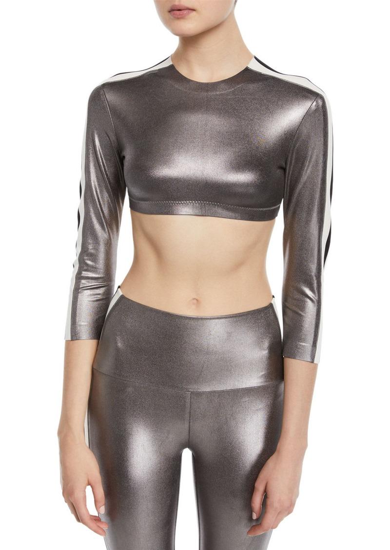 Norma Kamali Metallic Side-Stripe 3/4-Sleeve Crop Top