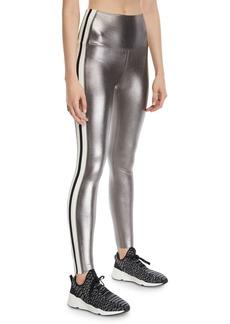 Norma Kamali Metallic Side-Stripe Active Leggings