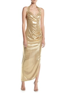 Norma Kamali Metallic Sweetheart Halter Gown w/ Draped Side