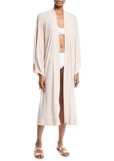Norma Kamali Mid-Calf Kimono-Sleeve Robe
