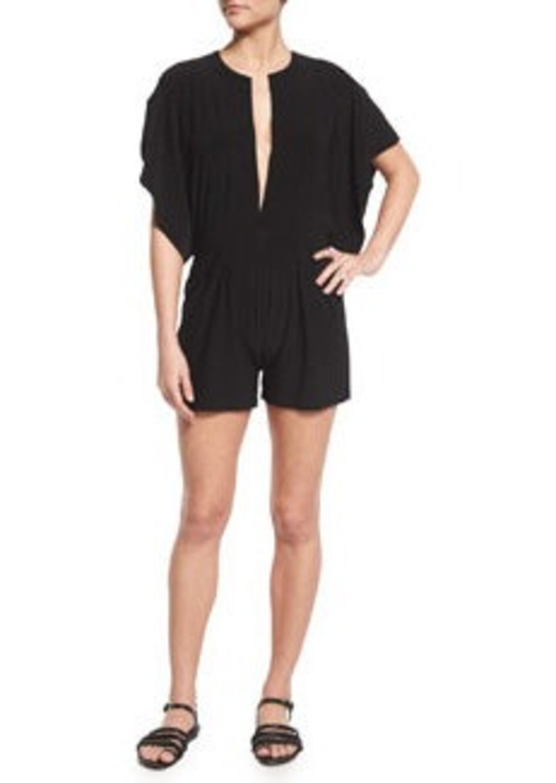 Norma Kamali Rectangle Plunge-Neck Jumpshort Romper