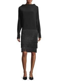 Norma Kamali All in One Long-Sleeve Fringe Dress