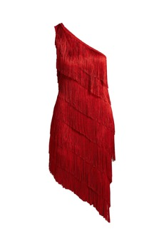 Norma Kamali Asymmetric fringed dress