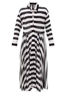 Norma Kamali Asymmetrical-striped shirtdress