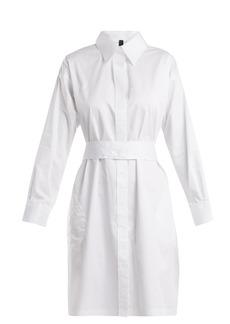 Norma Kamali Belted cotton-poplin shirtdress