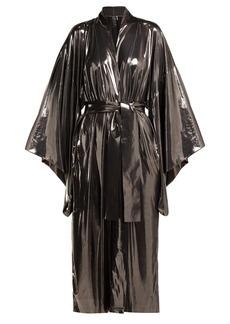Norma Kamali Belted lamé robe