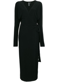 Norma Kamali belted wrap midi dress