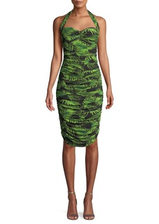 Norma Kamali Bill Palm Leaf Shirring Halter Dress