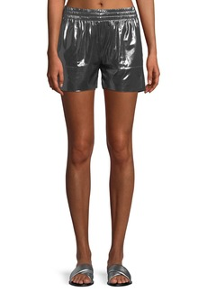 Norma Kamali Boyfriend Metallic Athletic Shorts