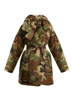 Norma Kamali Camo-print sleeping bag knee-length coat