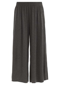 Norma Kamali Cropped jersey wide-leg trousers