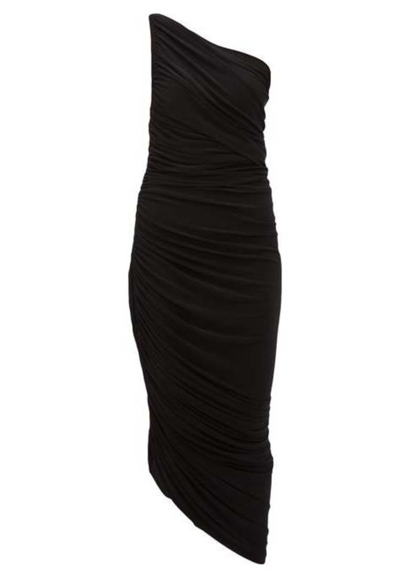 Norma Kamali Diana asymmetric ruched midi dress