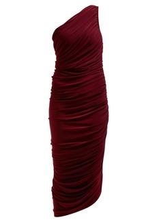 Norma Kamali Diana asymmetric ruched midi dress