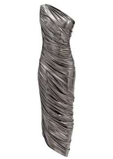 Norma Kamali Diana one-shoulder draped lamé dress