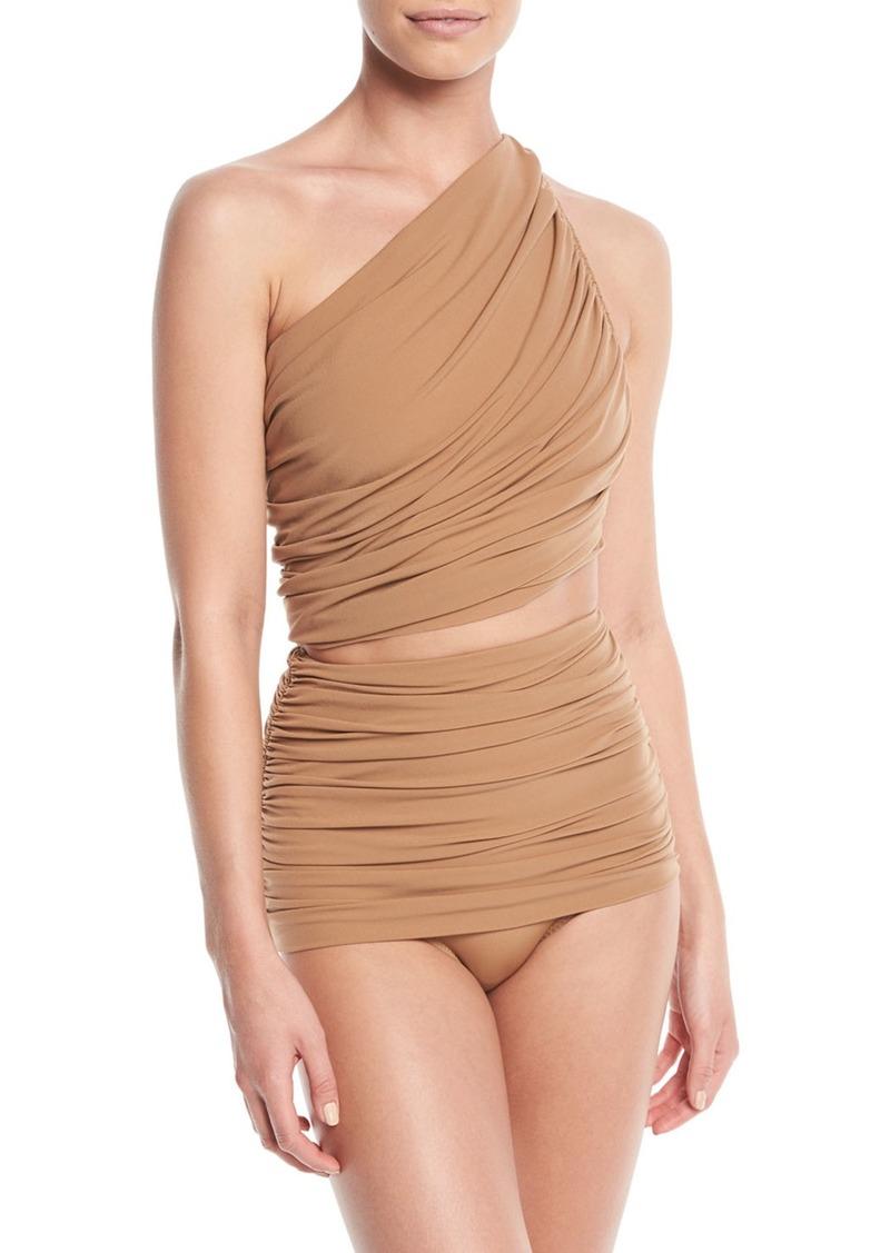 Norma Kamali Diana One-Shoulder Shirred Swim Top