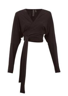 Norma Kamali Dolman-sleeve stretch-jersey wrap top