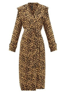 Norma Kamali Double-breasted leopard-print trench coat