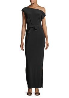 Norma Kamali Drop-Shoulder Belted Long Dress