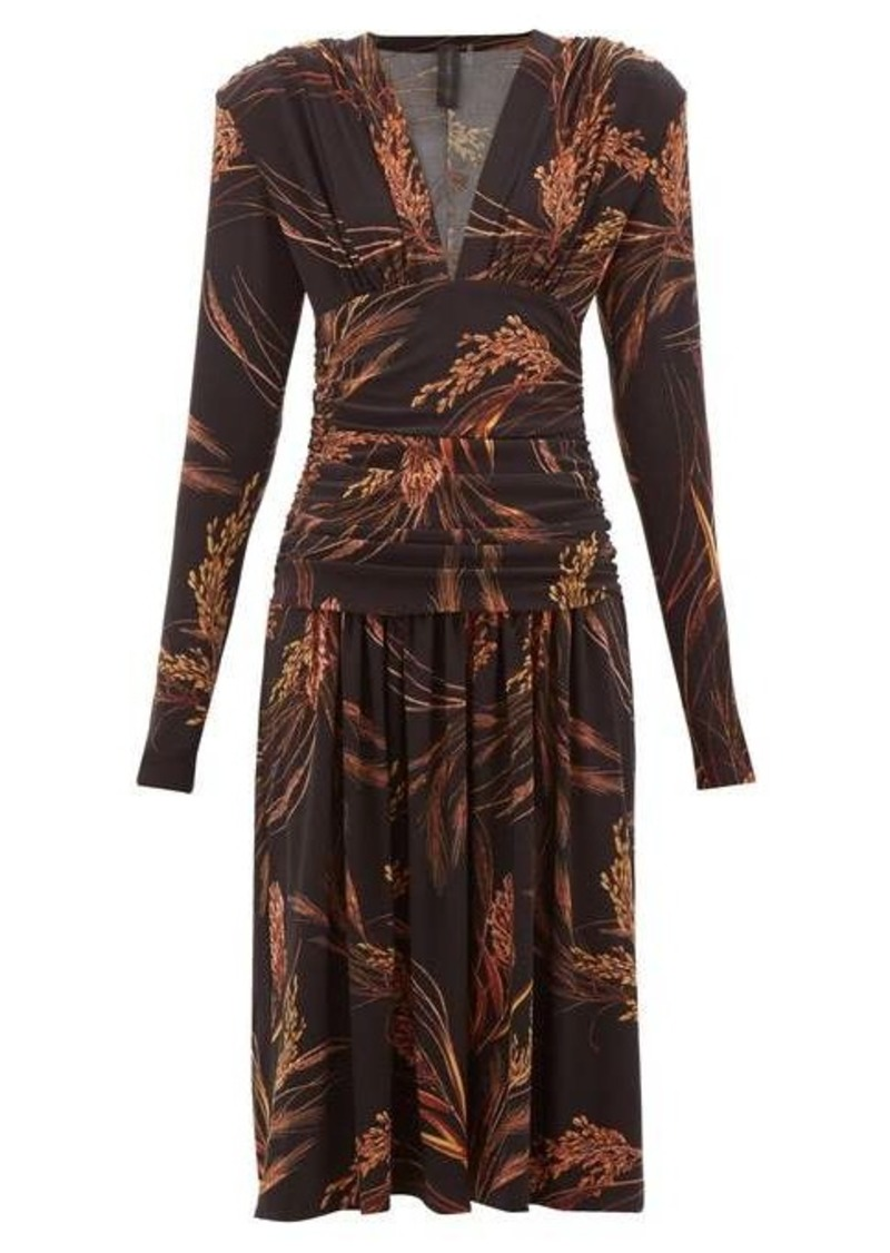 Norma Kamali Exaggerated-shoulder wheat-print dress