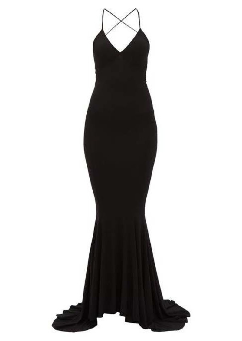 Norma Kamali Fish-tail jersey maxi dress