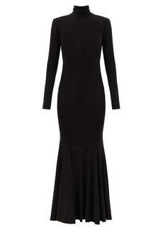 Norma Kamali Fishtail-hem cutout-jersey maxi dress