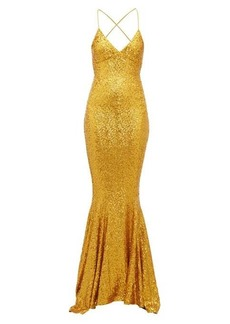 Norma Kamali Fishtail-hem sequinned jersey maxi dress